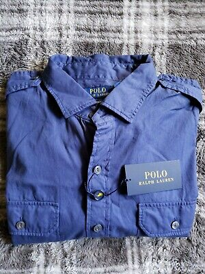 NWT $125 Polo Ralph Lauren Mens Feather Weight Twill Button Front Shirt Size L