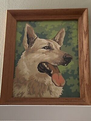 VTG 60's Completed PAINT BY NUMBER PBN Dogs German Shepard Masterfully Done 8x10