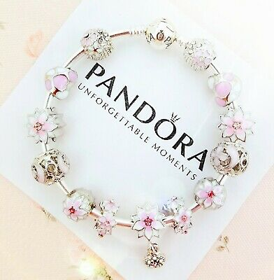 Authentic Pandora Bracelet Silver Bangle with Pink Flowers Heart European Charm