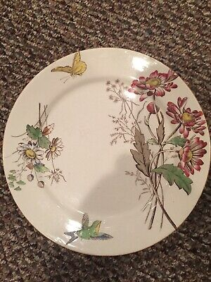 """T&R Boote Aesthetic Movement  brown polychrome Transferware Plate """"Daisy"""""""