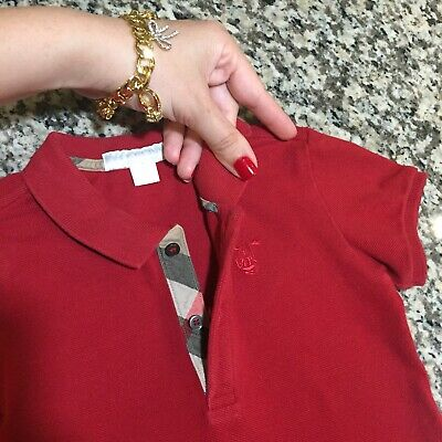 18 Months (12m +) 1Y Authentic Burberry Baby Boy's Polo Shirt Top Red Check Trim