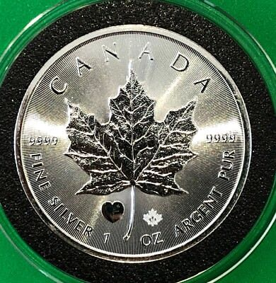 2015 Heart Privy Canada Maple Leaf 1 Troy Oz .9999 Fine Silver Round Scarce Coin