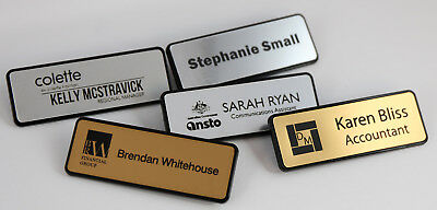 Name Badge Tag Metallic Personalised Engraving Small 47Mm X 16Mm Magnetic Holder
