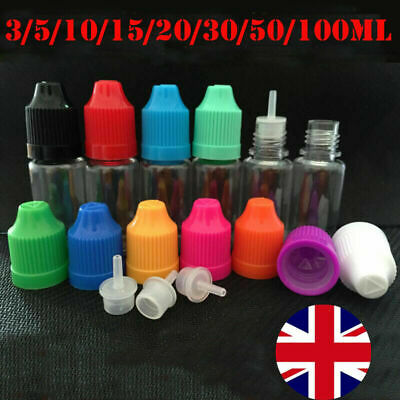 5/10/20/30/100ml Dropper Bottles Eye Juice Liquid PET Plastic Dripper Contain UK