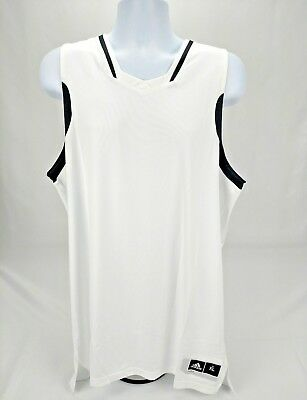 Adidas Mens XL Basketball Team Practice Jersey Tank Top Mesh Back White New  AB