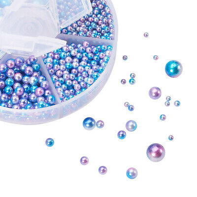 Imitation Pearl Round Beads No Holes Acrylic Loose Beads with Plastic Box