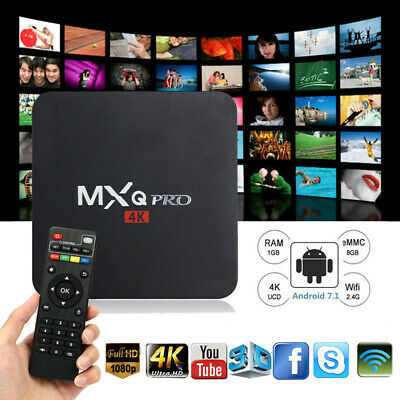 MXQ Pro 4K Ultra HD 3D 64Bit Wifi Android 7.1 Quad Core Smart TV Box + KD 18.1
