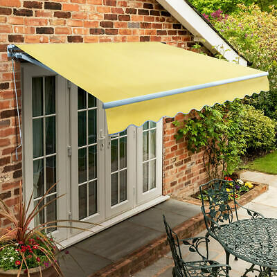 Garden Canopy Standard Manual Retractable Patio Awning USED Lemon Yellow 1.5 m