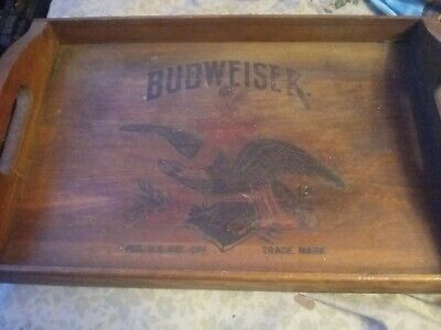 Vintage Anheuser Busch BUDWEISER BUD Beer CRATE TRAY SIGN Wooden BOX Man Cave