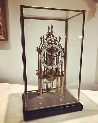 Skeleton Clock. Cathedral Shape, Chain Fusee, Under Glass Case. Working Order.