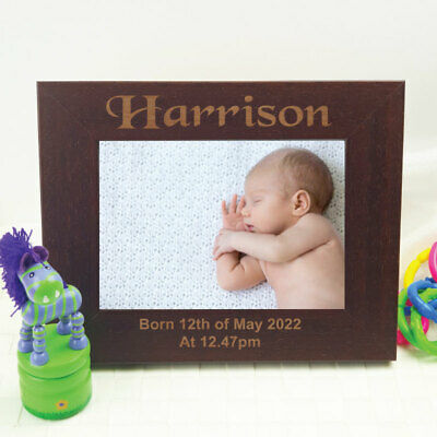 Baby Engraved Wood Photo Frame - Mocha - Unique Baby Gift