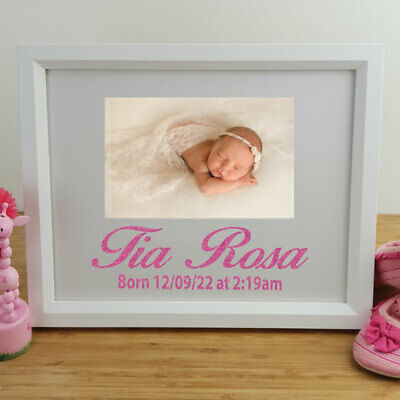 Baby Personalised Photo Frame 4x6 Glitter White - Unique Baby Gift