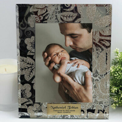 Baby Personalised Frame 5x7 Photo Glass Golden Glitz - Unique Baby Gift