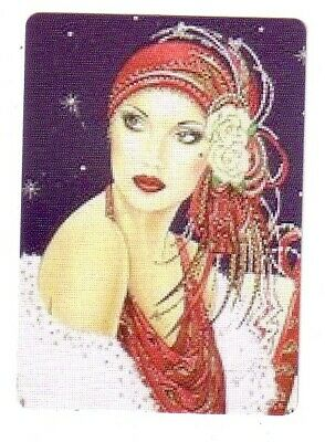 Deco Lady Wearing a Red Hat - Seconds  Modern Wide Single Linen Swap P/Card