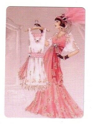 Deco Lady Wearing a Pink Dress -- Modern Wide Single Linen Swap Playing Card