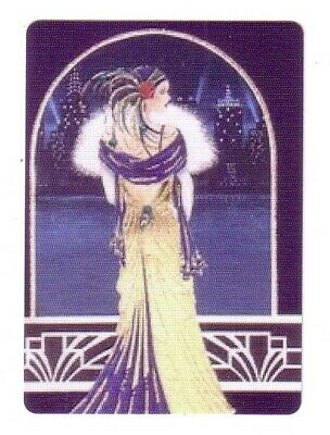 Deco Lady At Arch Lookout -- Modern Wide Single Linen Swap Playing Card