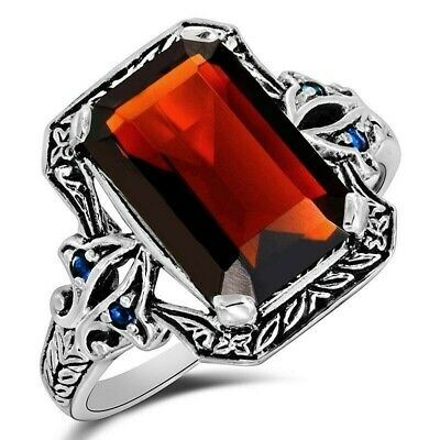 5CT Fire Garnet & Sapphire 925 Sterling Silver Filigree Ring Jewelry Sz 7, PO24