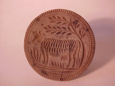 Great Penna. Antique Cow Carved Wood Butter Mold 4 1/4 Dia Nice Patina