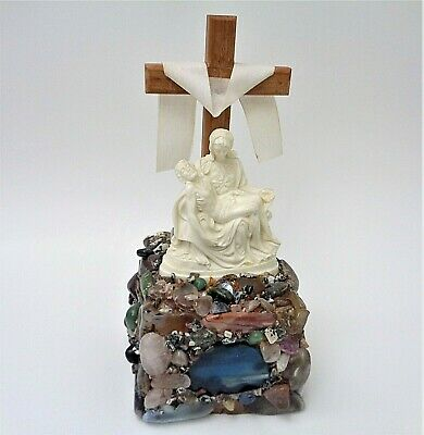 Vintage Kitschy Lucite Pieta with Polished Rock Altar Can Be Lighted