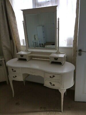 French style dressing table with detachable mirror; off white shabby chic