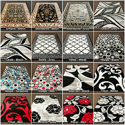 Large Rug Runner Heritage Modern Black White Grey Quality Rugs @ Low Sale Price