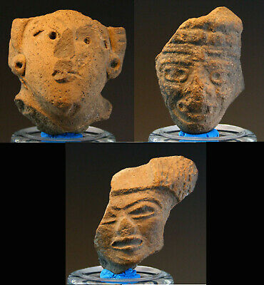 *Sc*Lot Of 3 Pre Columbian Pottery Heads, Mexico 500 Bc - 500 Ad!