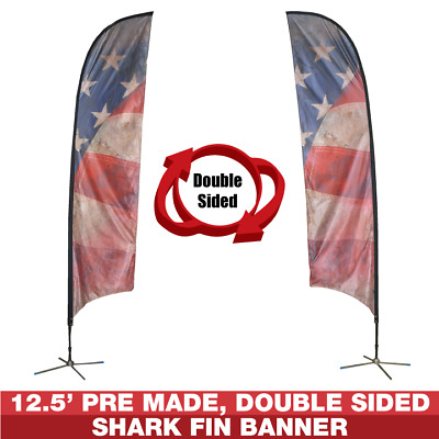 12.5' Double Sided American Flag Swooper Banner Feather Flag Sign Advertise Kit