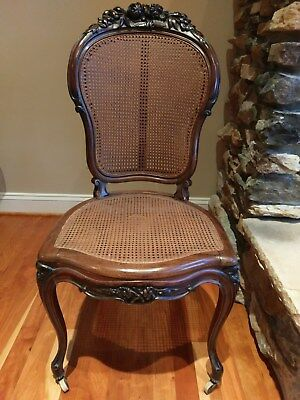 Antique French Provincial Accent Chair Carved Wood Flower Floral Wooden Cane Vtg