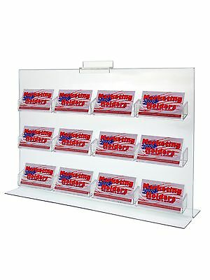 12 Pocket Slatwall Clear Acrylic Bottom Load Wall Mount Business Card Holder