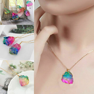 Natural Rainbow Crystal Pendant Necklace Quartz Stone Chain Jewelry Relax Luck