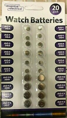 Pack Of 20 Assorted Button Cell Batteries For Watch Camera Expiry 2022