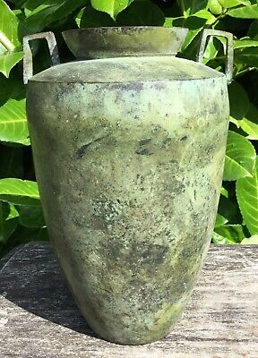 "Old Vintage Aged Bronze Verdigris Patina Art Deco Design Vase 8"" Tall"