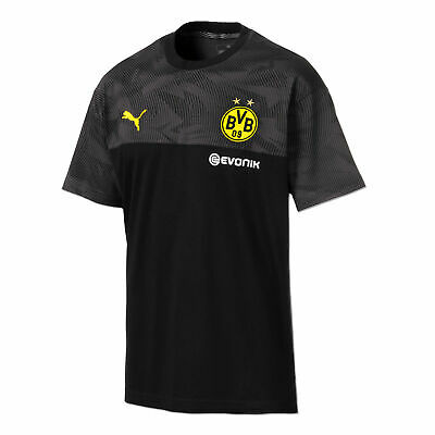 Puma Official Mens BVB Borussia Dortmund Football Casuals T-Shirt Tee Top Black