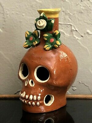 Mexican Folk Art Dia De Los Muertos Day Of The Dead Skull Candle Holder Calavera