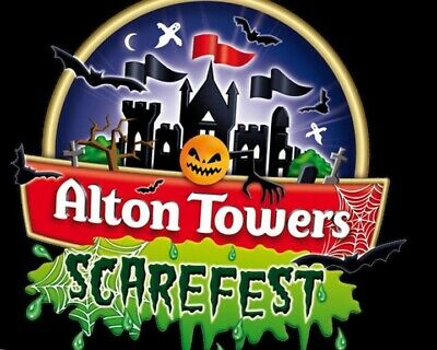 2 X Alton Towers Tickets Sunday 13th October Scarefest Late Night Halloween