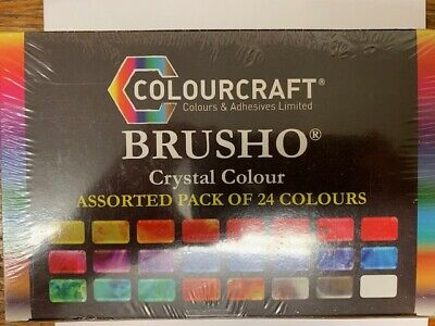 Colourcraft Brusho Crystal Colour Assorted Pack of 24 Colors Great Value!
