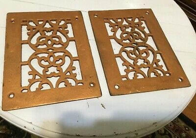 Pair Antique Cast Iron Decorative Heat Grate Floor Register 6X8 Vintage