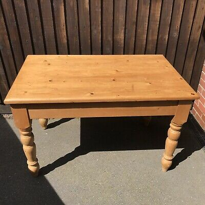 Antique Pine Wood Kitchen Dining Breakfast Farmhouse Table Small 4ft x 2ft 6""