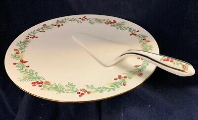 Lenox Boxwood And Pine 2pc Footed Cake Plate And Server **NEW**