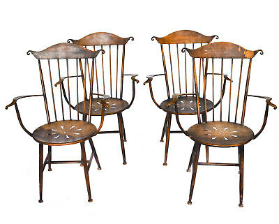 Set/four Wild Vintage All Metal Windsor Style Chairs, Hand-Crafted, Fascinating.