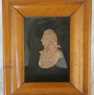 Good Georgian Carved Wax Portrait Miniature Nelson With Original Label & Frame