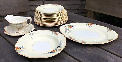 Vintage Art Deco Burleigh Ware Ivoire Bird Table Design Part Crockery Set Plates
