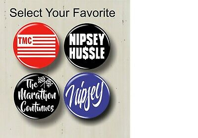 """Nipsey Hussle 1.25"""" Buttons T-Shirt Hat Pins The Marathon Continues Rap Music"""
