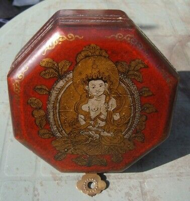Oriental Octagonal box. Buddha design , vintage unusual antique.