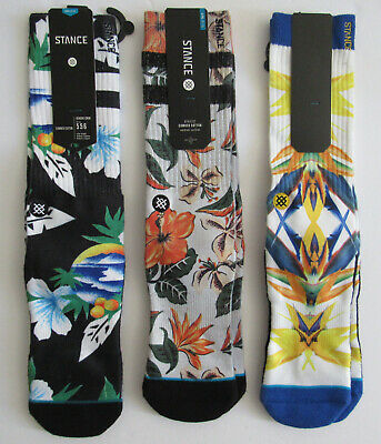 3 Pair Bundle Stance Crew Socks Colorful Floral Designs Mens Sz Large-L/XL