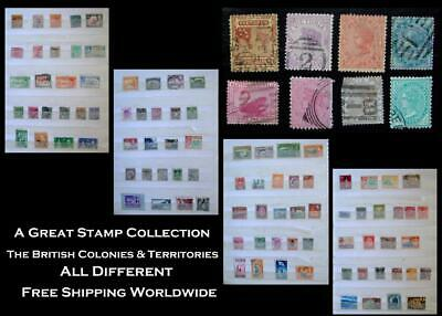 Stamp Collection British Colonies Victoria India Western Australia NZ N.S.W. Ext