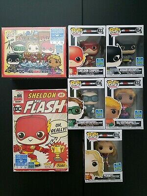2019 Funko Pop The Big Bang Theory Full Set of 5 SDCC Sticker 2 Size Small Tee
