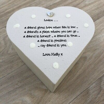 Shabby Personalised Chic Special BEST Friend ANY NAME Heart Box GIFT Friendship