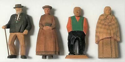 "Four Vintage Hand Carved Wood Sweden Folk Art Figurines First Figure 5 1/2"" H"