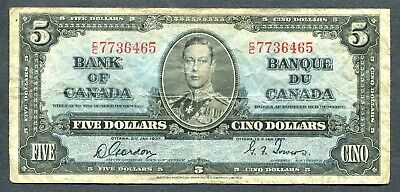Bank Of Canada 1937 $5 Bank Note